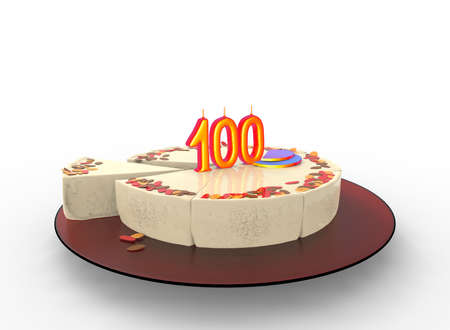 wedding feast: 3d illustration of cake with 100 on top. white background isolated. icon for game web.