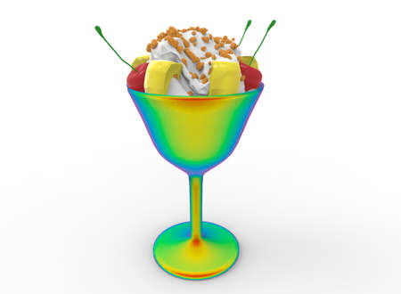 3d illustration of ice cream dessert. white background isolated. icon for game web.