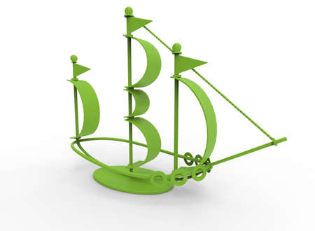 old newspaper: 3d illustration of desk decoration boat. white background isolated. icon for game web. Stock Photo