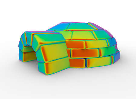 sun block: 3d illustration of igloo. white background isolated. icon for game web. Stock Photo