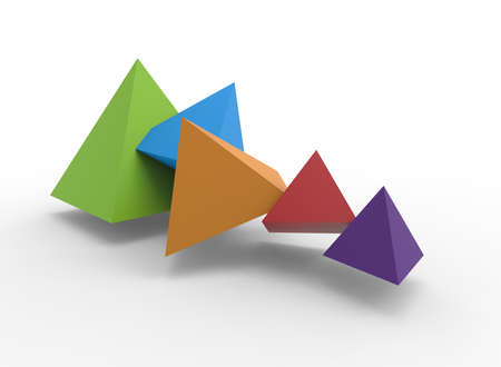 3d illustration of colorful pyramids. white background isolated. icon for game web.