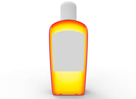 bath: 3d illustration of colorful shampoo bottle. white background isolated. icon for game web.