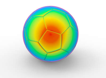 leather texture: 3d illustration of abstract colorful soccer ball. white background isolated. icon for game web.