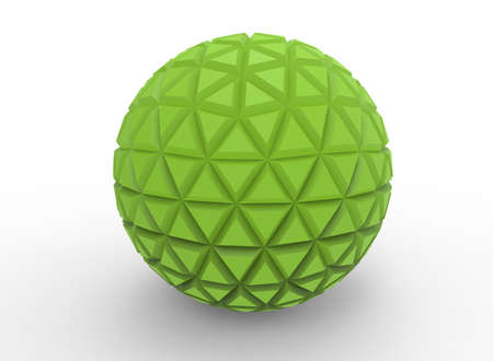 rainbow colors: 3d illustration of abstract geometry ball. white background isolated. icon for game web. Stock Photo
