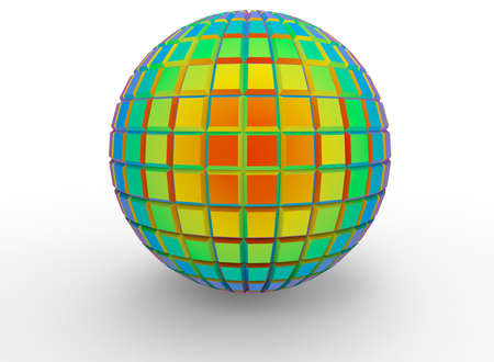 3d illustration of abstract geometry ball. white background isolated. icon for game web. Stock Photo