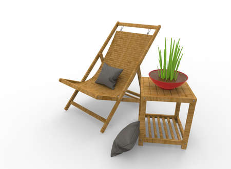 3d illustration of chair with flower. white background isolated. icon for game web.