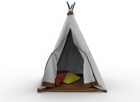 3d illustration of indian tent. white background isolated. icon for game web. Stock Photo
