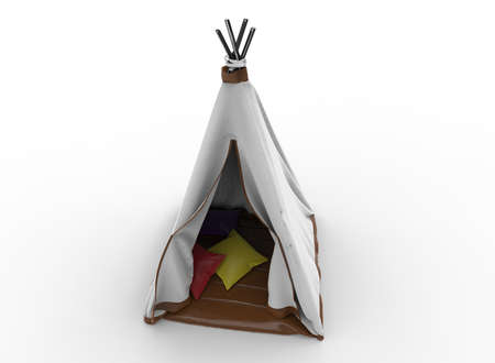 3d illustration of indian tent. white background isolated. icon for game web. Banco de Imagens