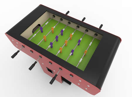 3d illustration of table soccer. white background isolated. icon for game web. Stock Photo
