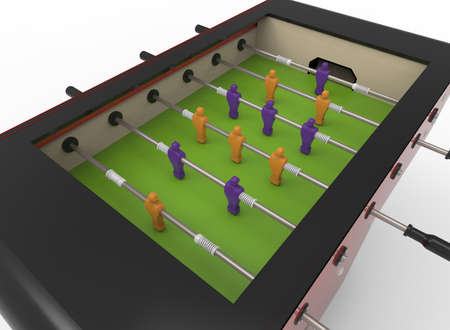 3d illustration of table soccer. white background isolated. icon for game web. Banco de Imagens