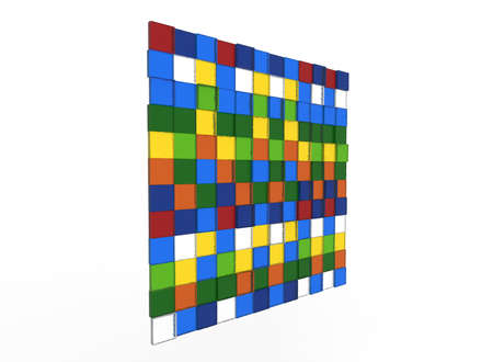 3d illustration of square tiles background. white background isolated. icon for game web.