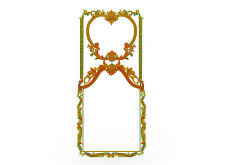 3d illustration of carved decor frame. white background isolated. icon for game web.