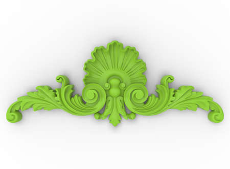 3d illustration of carved decor. white background isolated. icon for game web.
