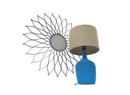 3d illustration of mirror with lamp. white background isolated. icon for game web.