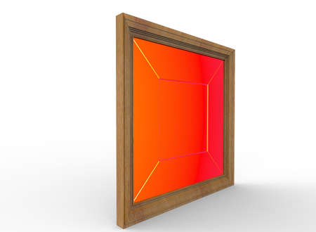 3d illustration of wooden frame. white background isolated. icon for game web.