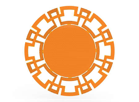 3d illustration of ornament frame. white background isolated. icon for game web.