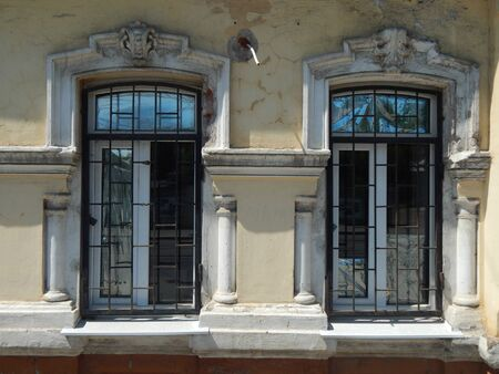 moldings: Two old windows with moldings