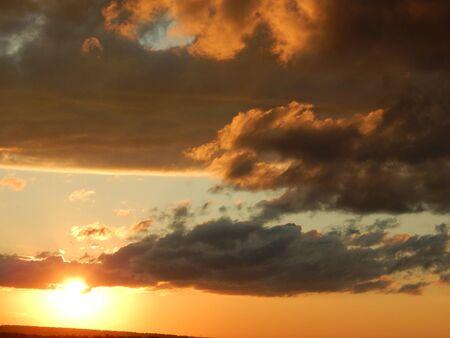 horizon over land: bright sun