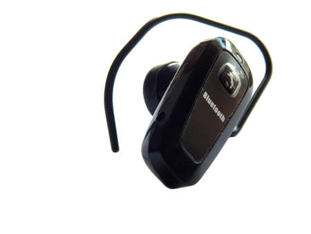 handsfree phone: Bluetooth headset on a white background Stock Photo