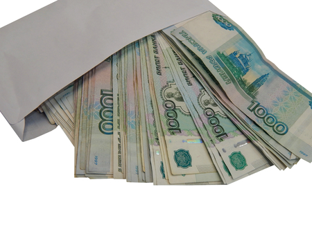 rubles: money 1000 rubles in the envelope Stock Photo