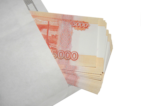 Bundle of money 5000 rubles on a white background