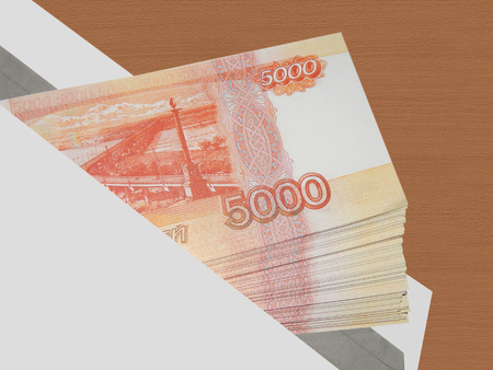 Bundle of money in 5000 rubles