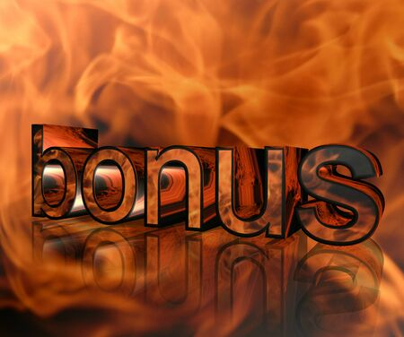 caption: Caption bonus on fire background Stock Photo