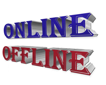 offline: The text of the online and offline on a white background Stock Photo