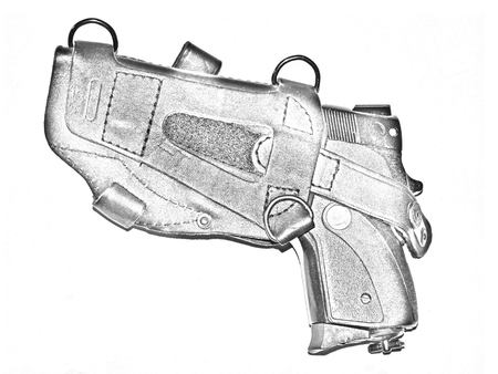 holster: Pencil drawing a pistol in a holster Stock Photo