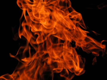 Texture of bright fire flames on a black background Stock Photo - 58667083