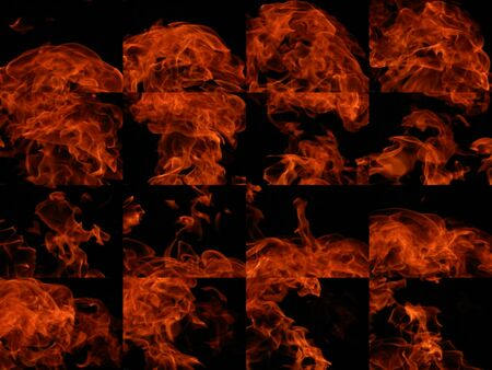 A collection of high-resolution bright fire flames on a black background Stock Photo