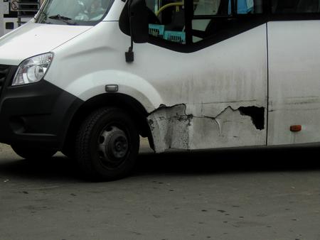 fender: Broken car fender made of plastic Stock Photo
