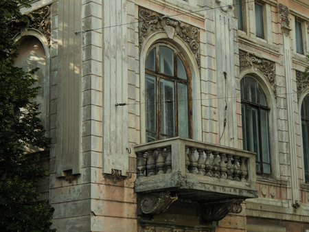 moldings: Old balcony of plaster moldings