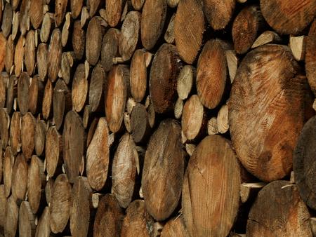 sawmill: Stacked logs at a sawmill close-up