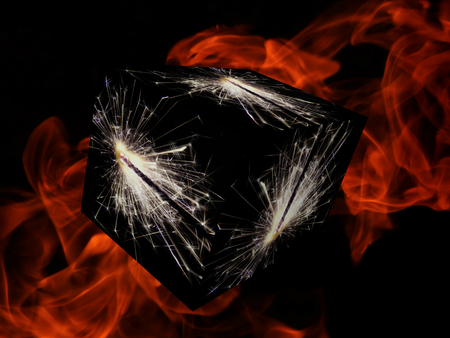 3D Illustration. Cube with sparklers on fire background
