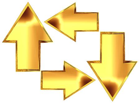 3D Illustration. Set of gold arrows on white background
