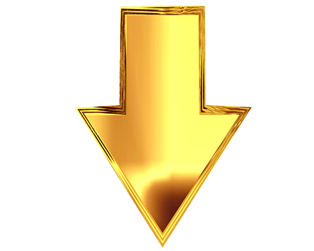 3D Illustration. Gold arrow on a white background