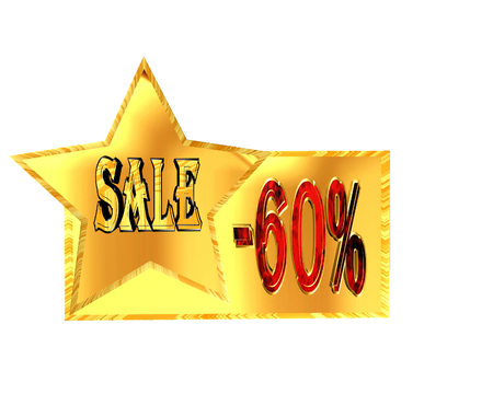 3D Illustration. Gold star with text sale and 60% discount figure on a white background