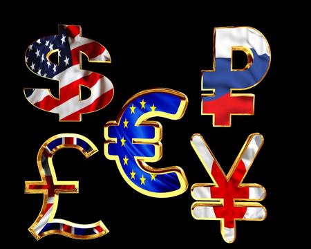 Symbols of national currency cash on a black background
