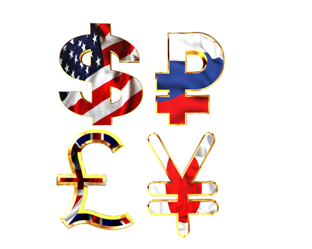 corporative: Symbols of national currency cash on a white background Stock Photo