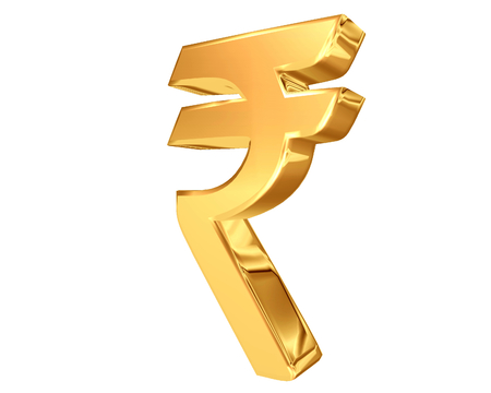 currency symbol: 3D illustration. Currency Indian Rupee symbol on a white background Stock Photo