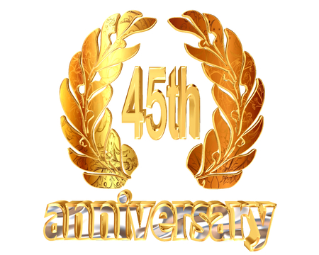 45th: Gold emblem of the 45th anniversary on a white background Stock Photo