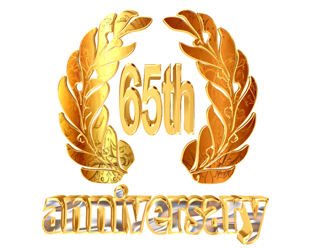 65th: Gold emblem of the 65th anniversary on a white background