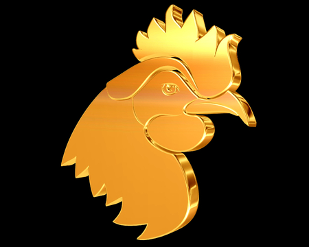 Golden Rooster on a black background