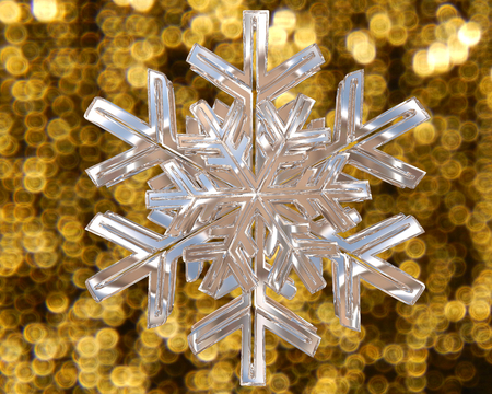 contoured: Winter snowflake silver color on a golden background Stock Photo