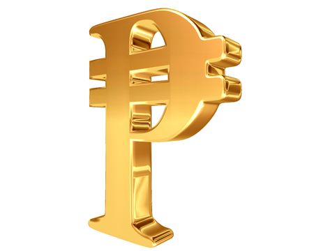 signo de pesos: Oro símbolo insignia del peso sobre un fondo blanco Foto de archivo