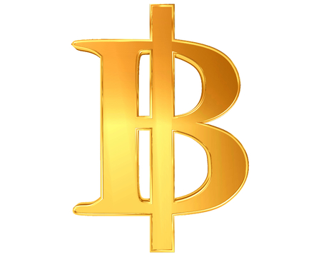 paying bills: The sign and symbol of the Thai Baht Bitcoins on a white background