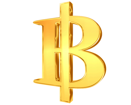 king thailand: The sign and symbol of the Thai Baht Bitcoins on a white background