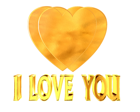 golden heart: Golden heart and i love you text on a white background