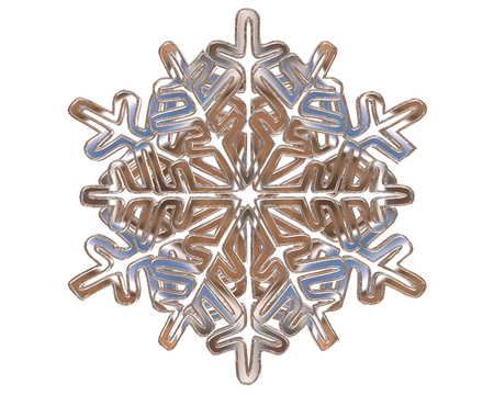 contoured: Winter silver colored snowflakes on a white background